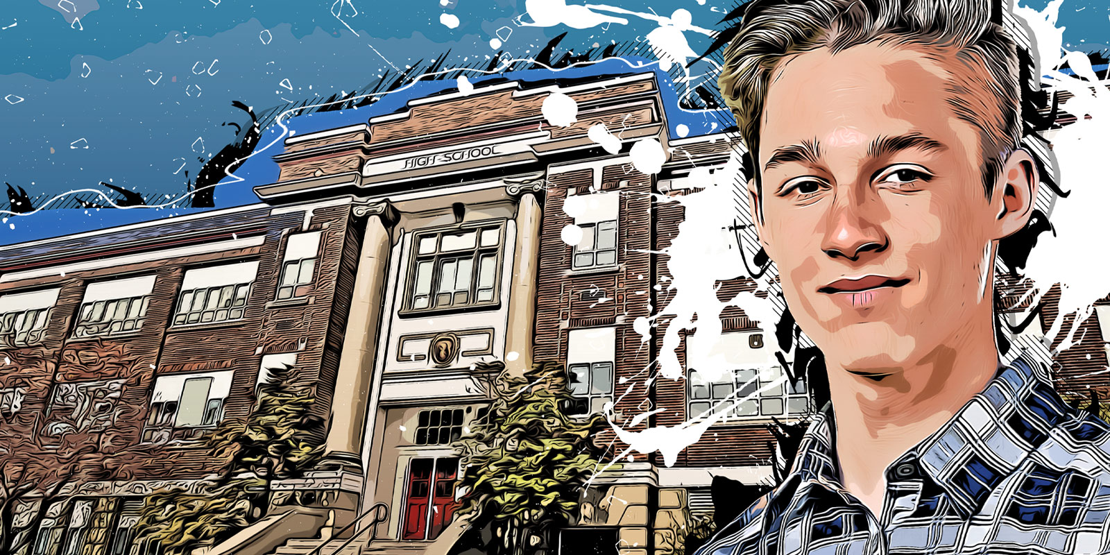 Illustration of Brody in front of a high school